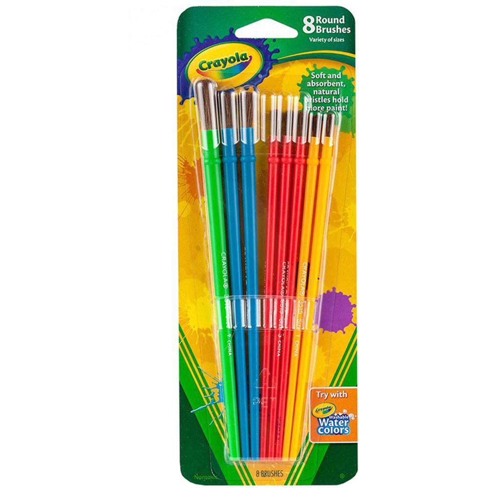 BIN053516 - Art & Craft Brush Set 8Ct Blister Pack in Paint Brushes