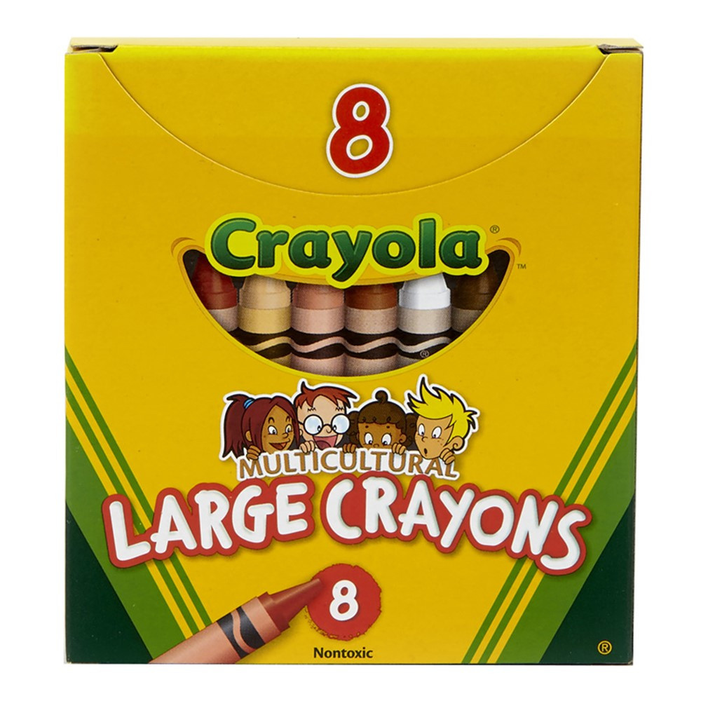 BIN080W - Multicultural Crayons Large 8Pk in Crayons