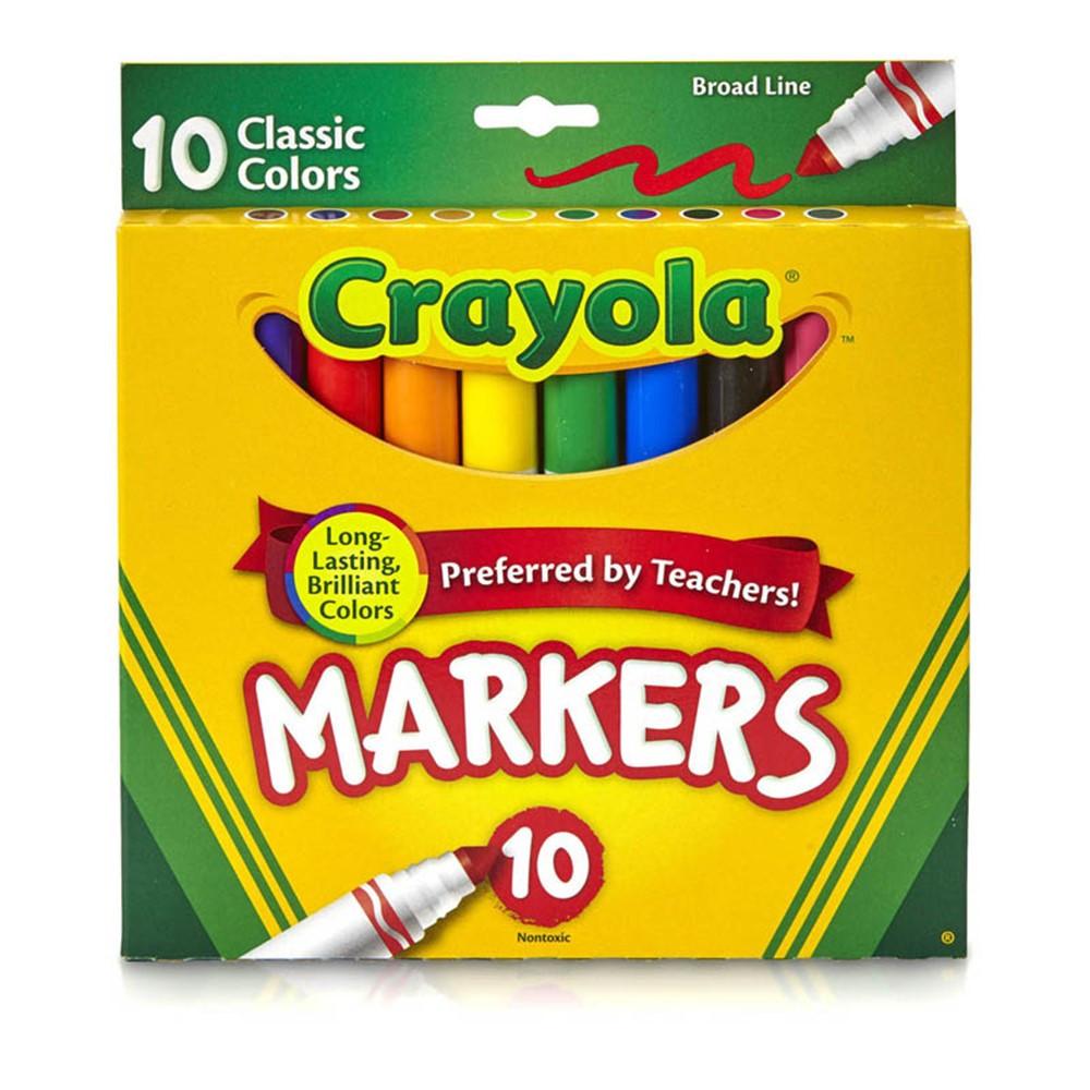 BIN587722 - Crayola Taklon Watercolor 10Ct Brush Classic Broad Line Markers in Markers