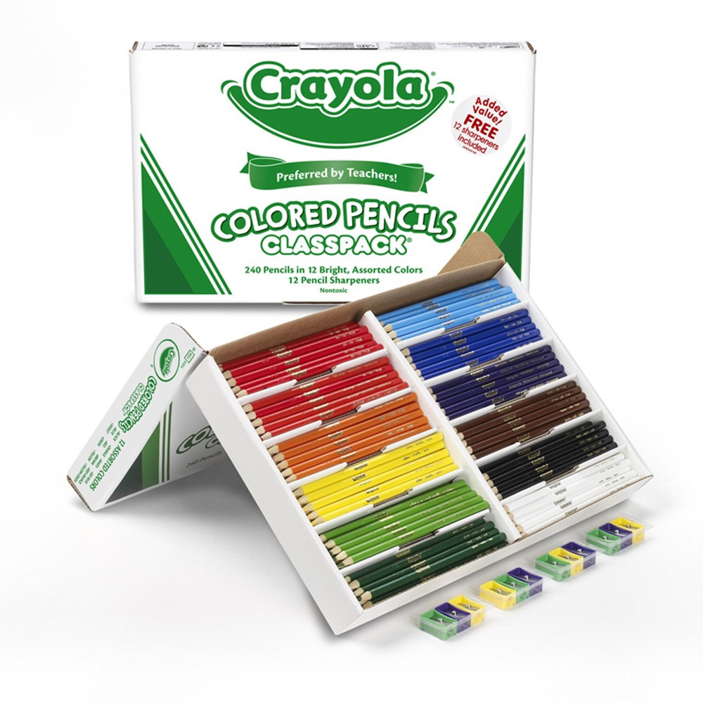 BIN8024 - Colored Pencils 240 Ct Classpack 12 Assorted Colors Full Length in Colored Pencils