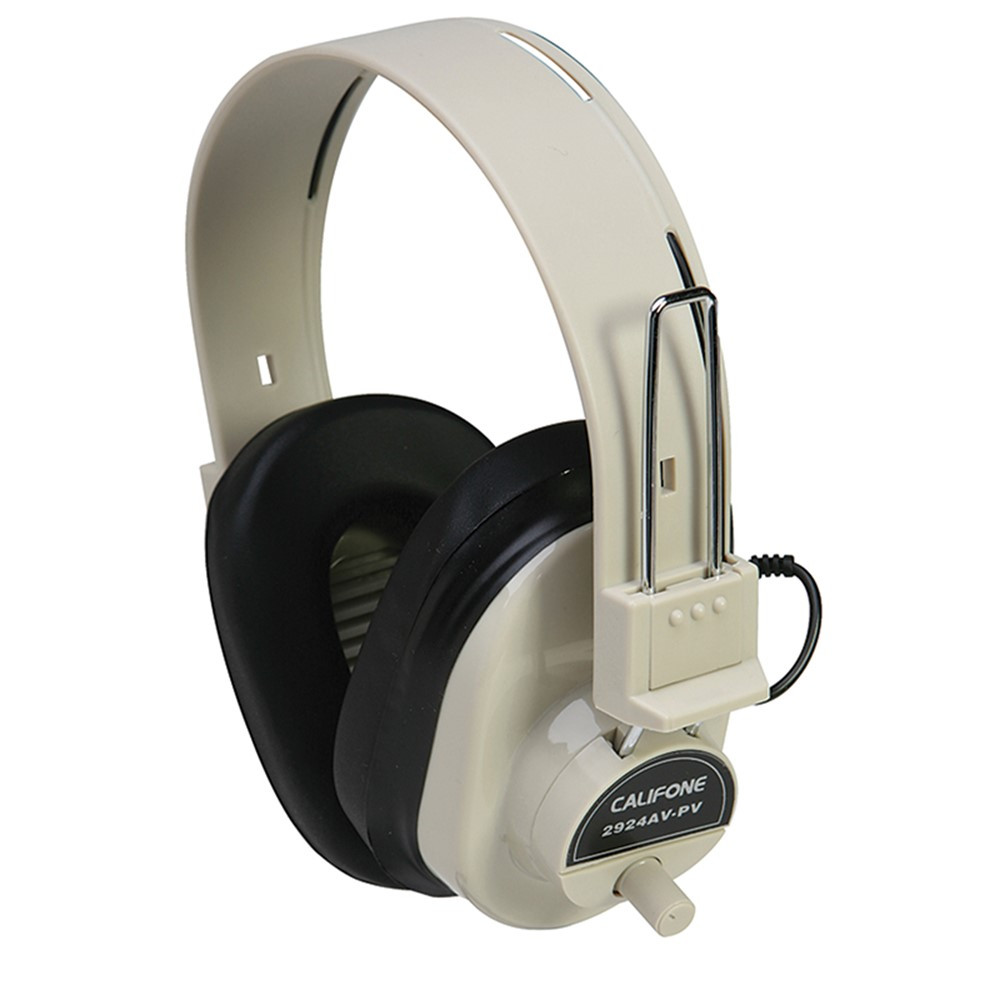 CAF2924AVPV - Deluxe Mono Headphone Fixed Coiled Cord W/ Volume Control in Headphones