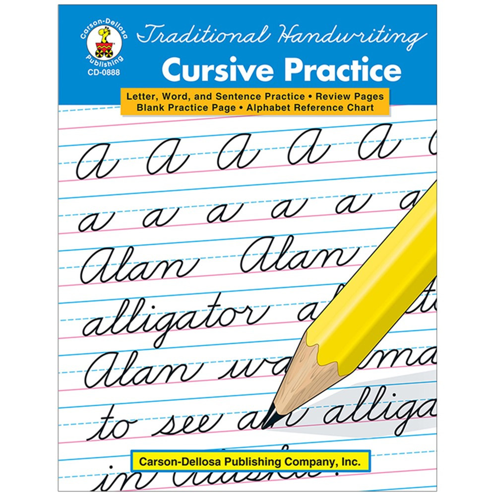 traditional handwriting cursive practice grades 2 5 cd 0888 carson dellosa reading. Black Bedroom Furniture Sets. Home Design Ideas