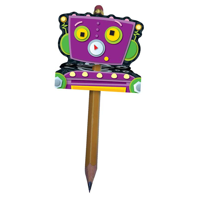 CD-101027 - Robot Pencil Toppers 12Pk in Pencils & Accessories