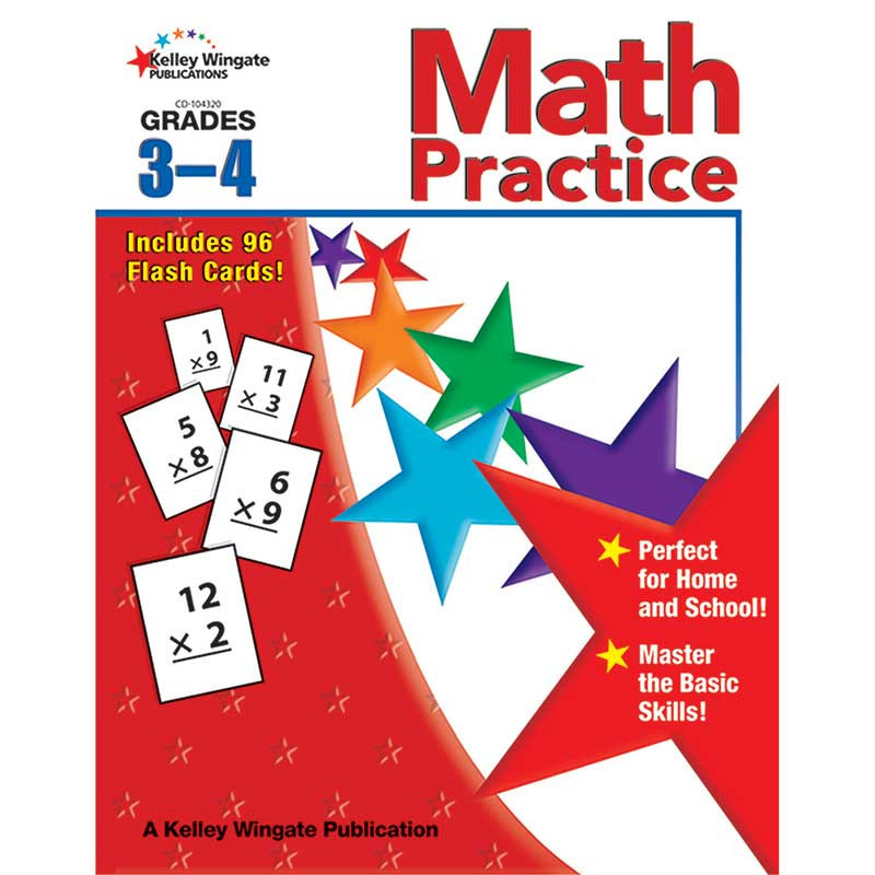 CD-104320 - Math Practice Gr 3-4 W/Flash Cards in Activity Books