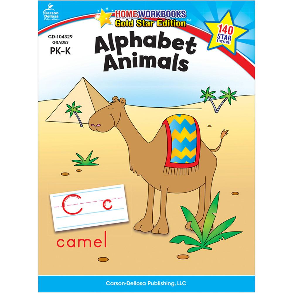 CD-104329 - Alphabet Animals Home Workbook Gr Pk-K in Letter Recognition