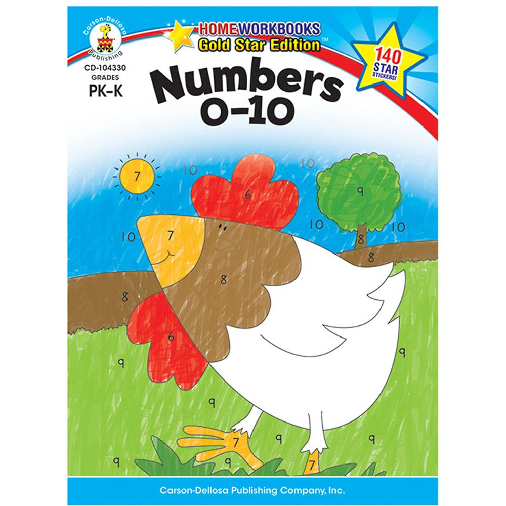 CD-104330 - Numbers 0-10 Home Workbook Gr Pk-K in Numeration