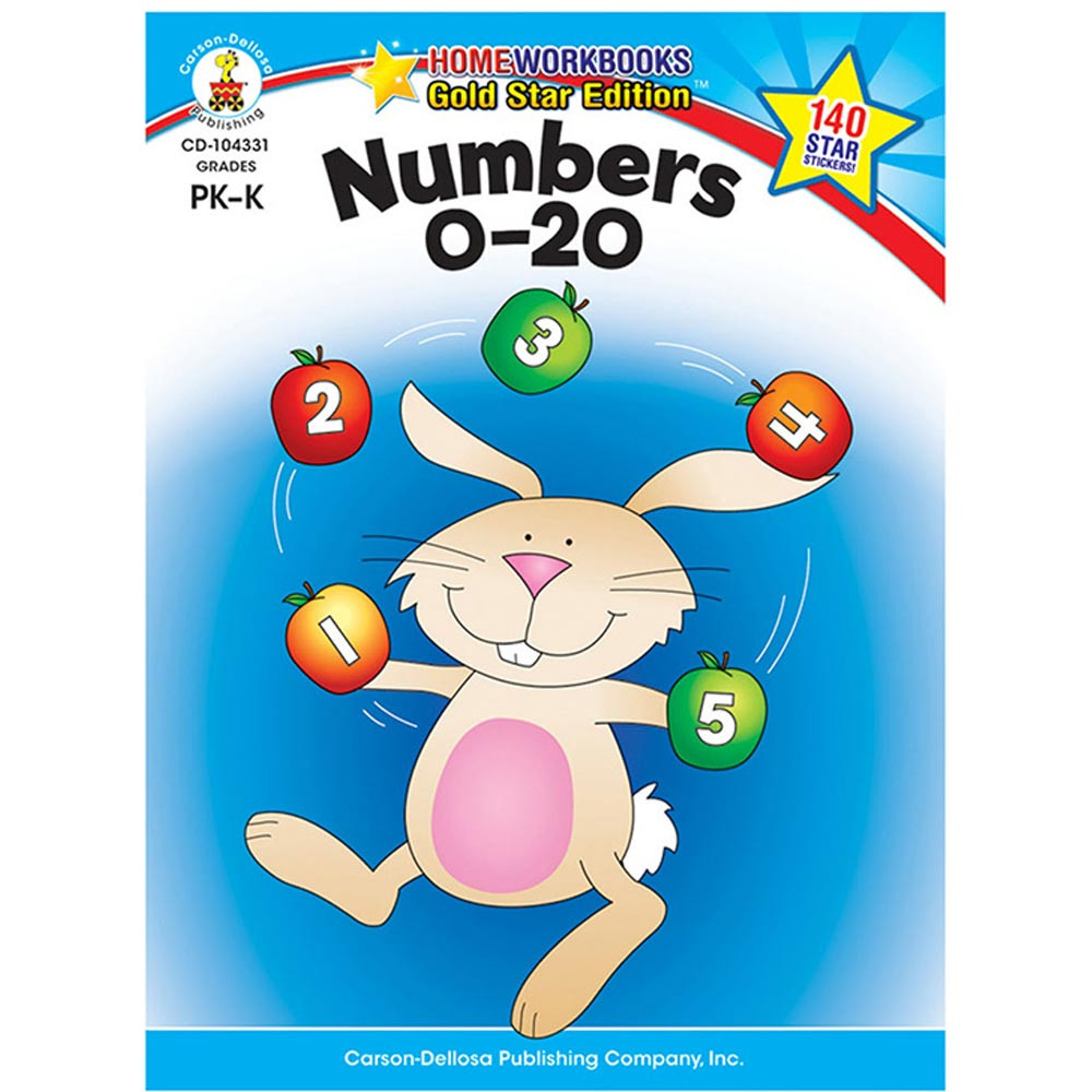 CD-104331 - Numbers 0-20 Home Workbook Gr Pk-K in Numeration