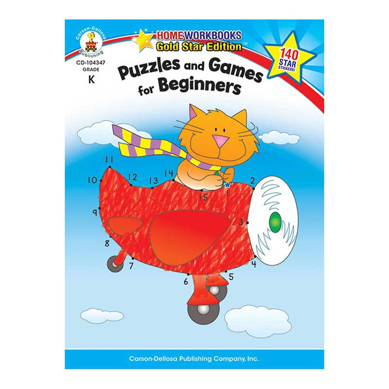 CD-104347 - Puzzles & Games For Beginners Home Workbook Gr K in Skill Builders