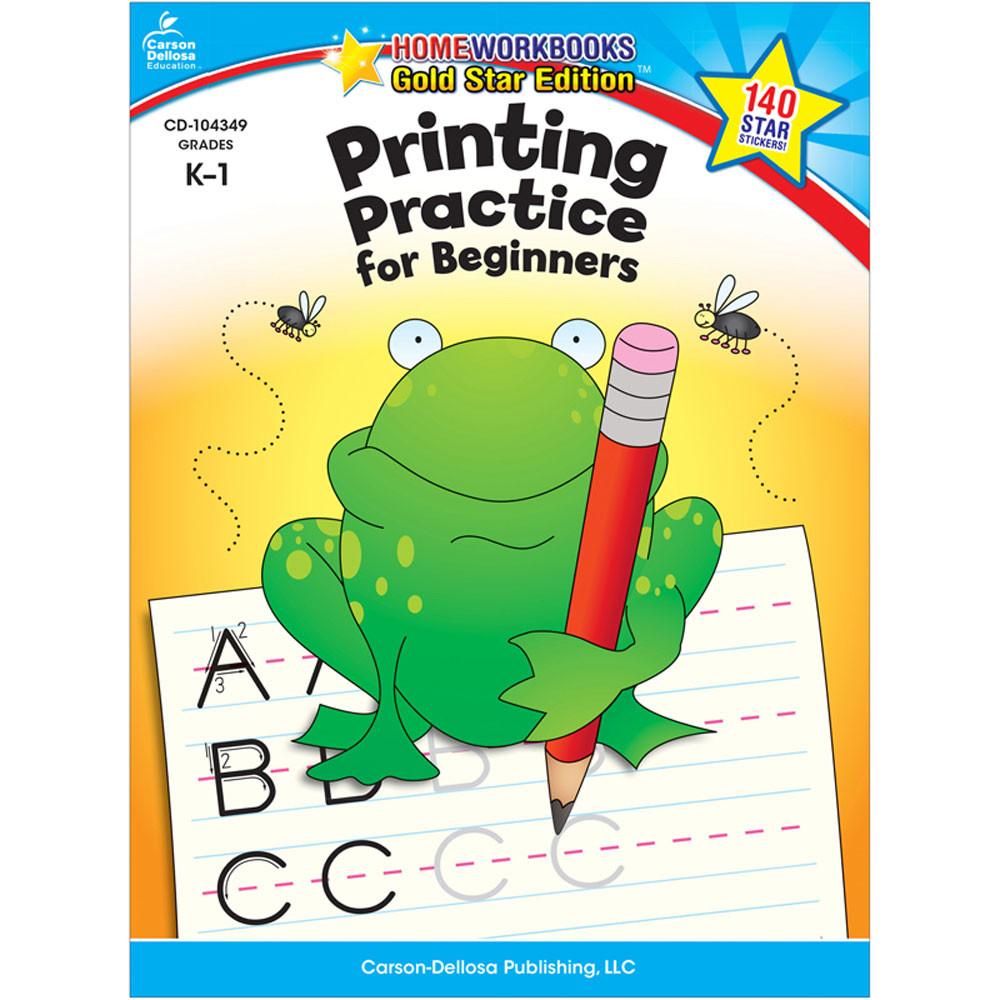 CD-104349 - Printing Practice For Beginners Home Workbook Gr K-1 in Handwriting Skills