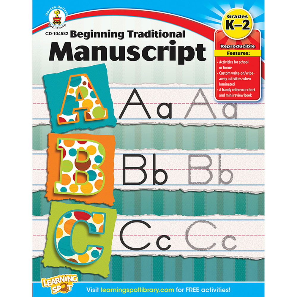 CD-104582 - Beginning Traditional Manuscript Gr K-2 in Handwriting Skills