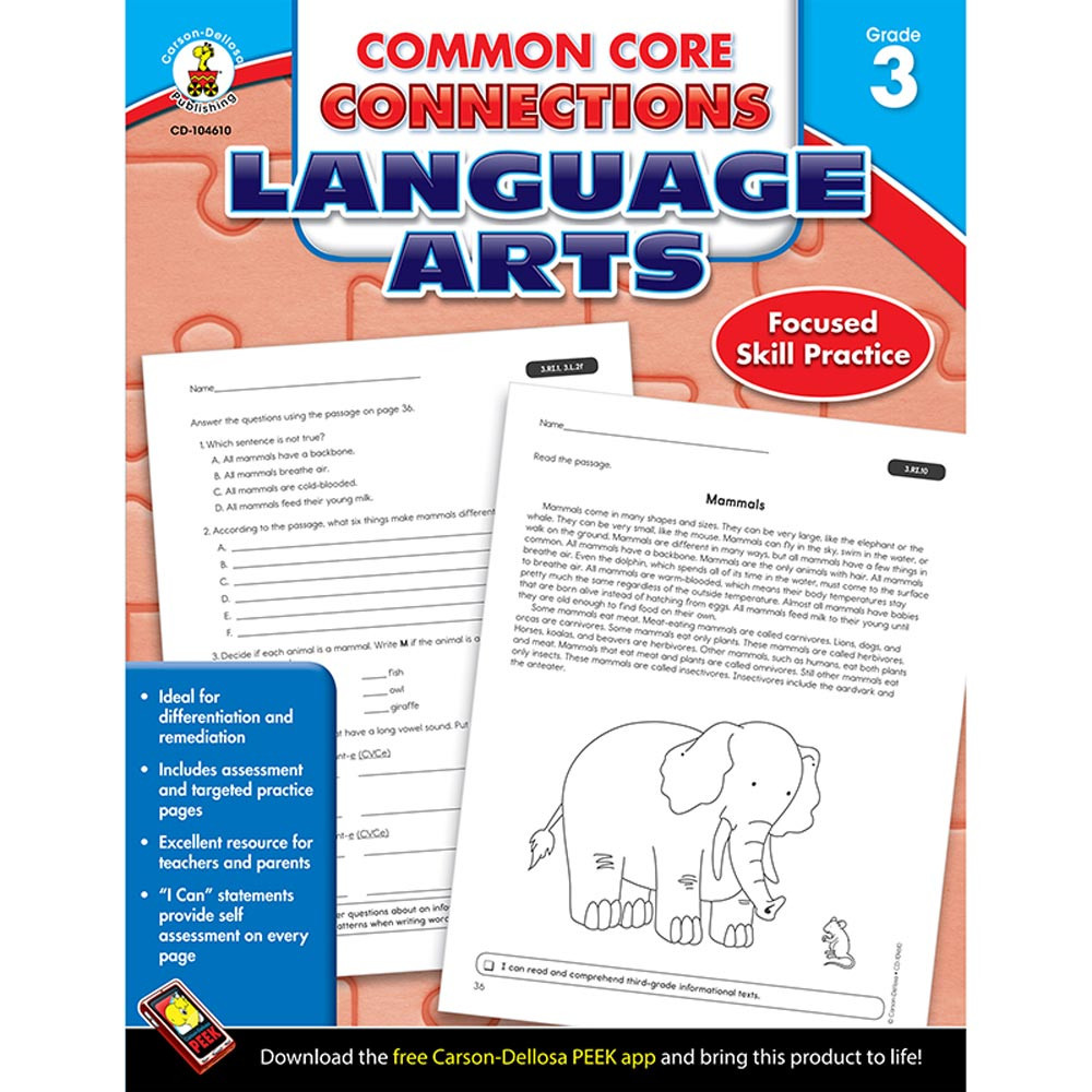 CD-104610 - Language Arts Gr 3 Common Core Connections in Comprehension
