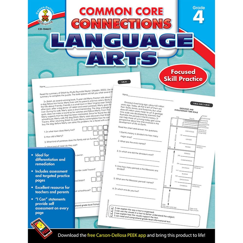 Common Core Connections Language Arts, Grade 4 - CD-104611 ...