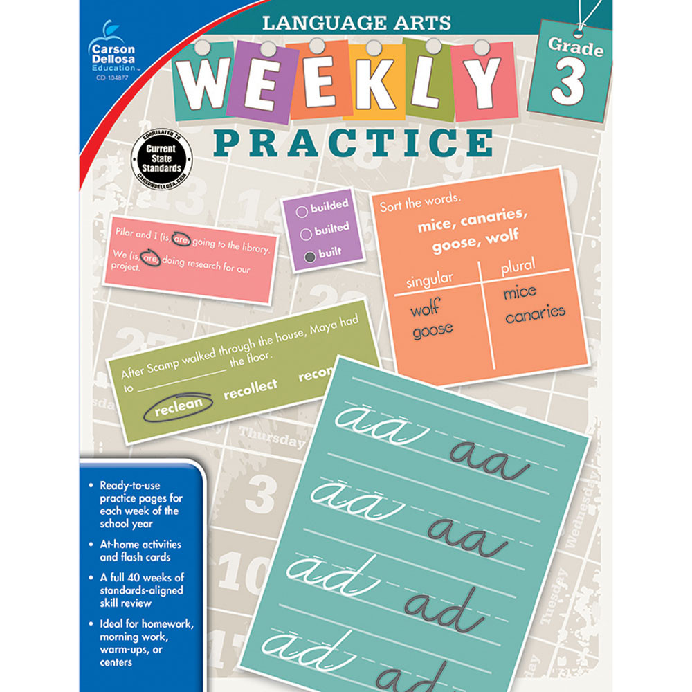CD-104877 - Weekly Practice Language Arts Gr 3 in Activities