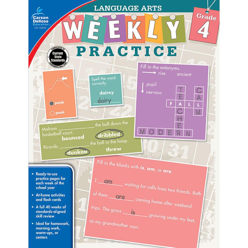 CD-104878 - Weekly Practice Language Arts Gr 4 in Activities