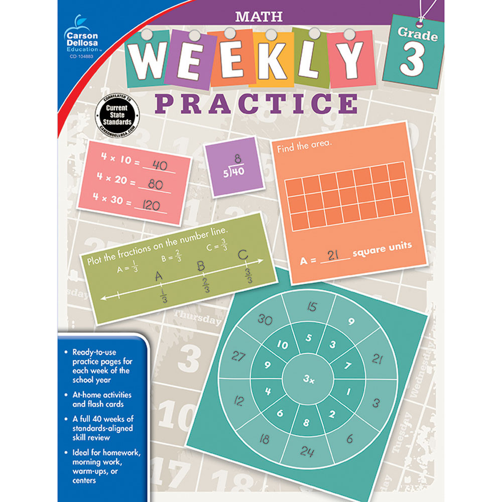 Math, Grade 3 - CD-104883 | Carson Dellosa | Math,Activity Books