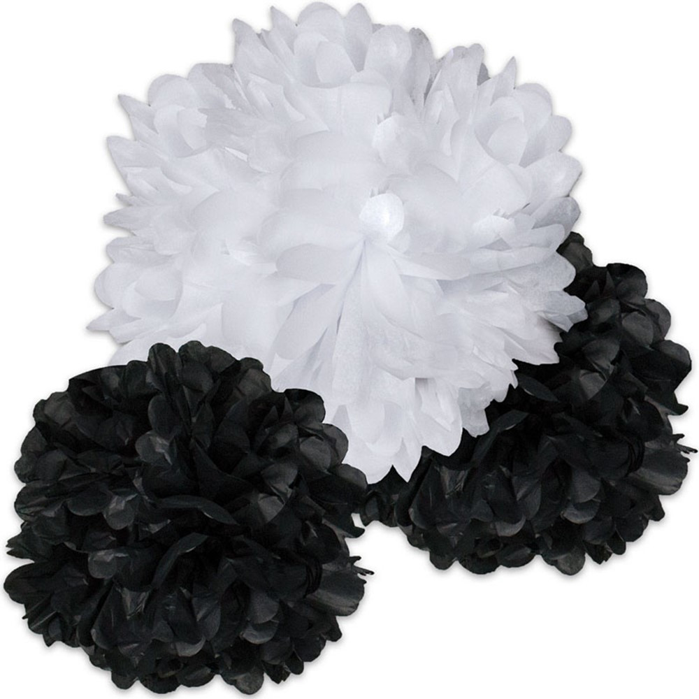 CD-107004 - Black And White Pom Poms in Accents