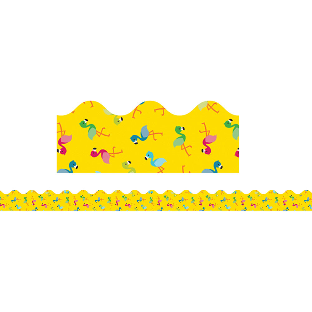 CD-108257 - School Pop Flamingos Scalloped Border in Border/trimmer