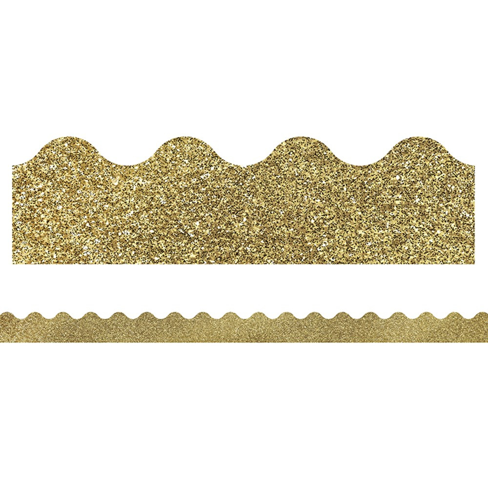 CD-108319 - Gold Glitter Scalloped Borders Sparkle And Shine in Border/trimmer