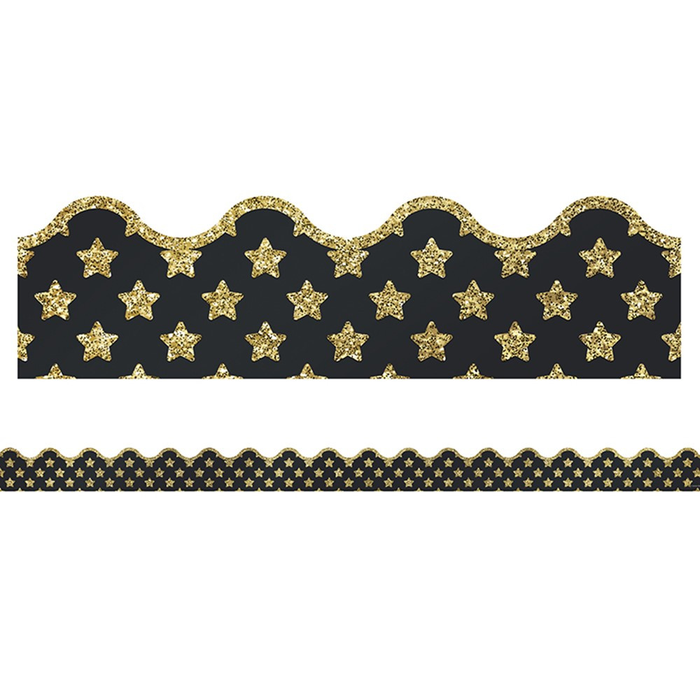 CD-108320 - Gold Glitter Stars Scalloped Border Sparkle And Shine in Border/trimmer