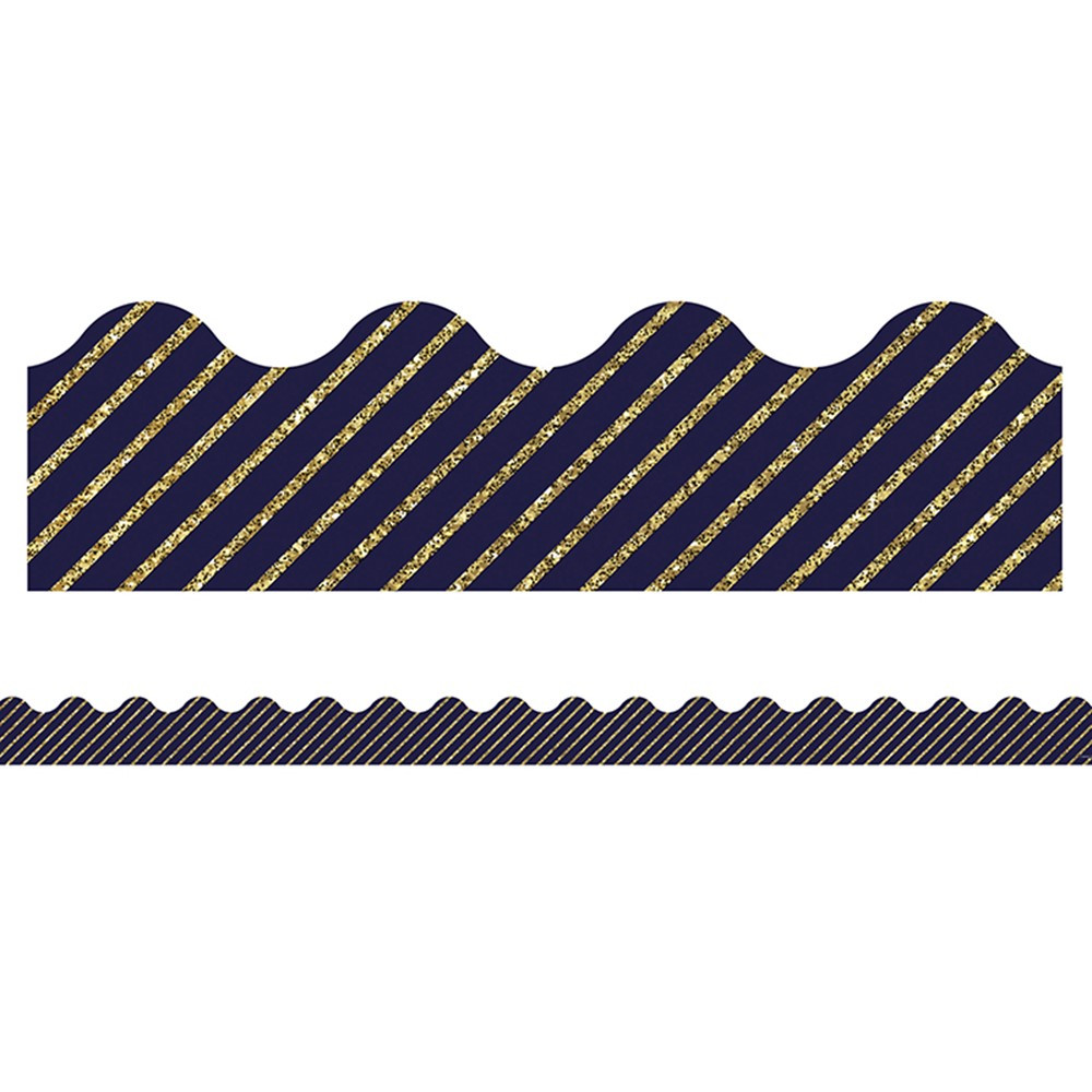 CD-108322 - Gold Glitter Navy Stripe Border Sparkle And Shine Scalloped in Border/trimmer