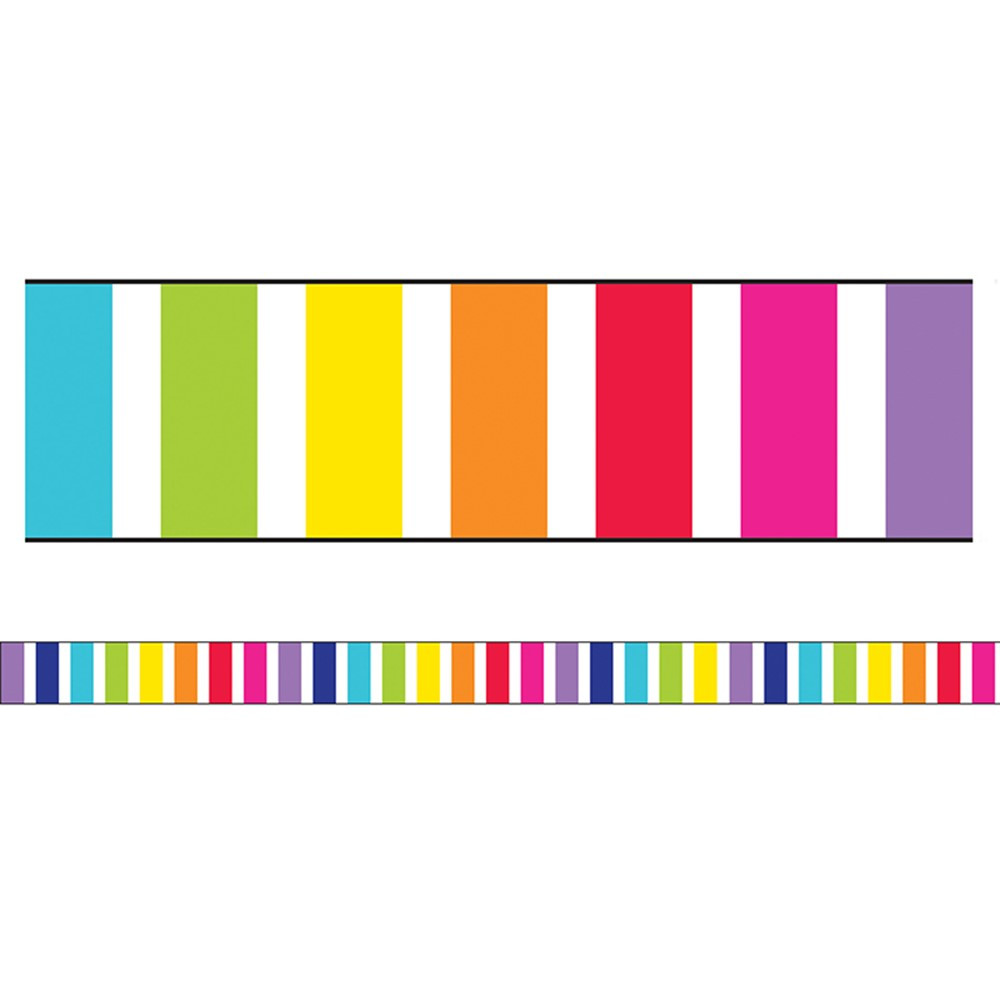 CD-108343 - Stars Vert Rainbow Stripes Str Brdr School Girl Style in Border/trimmer