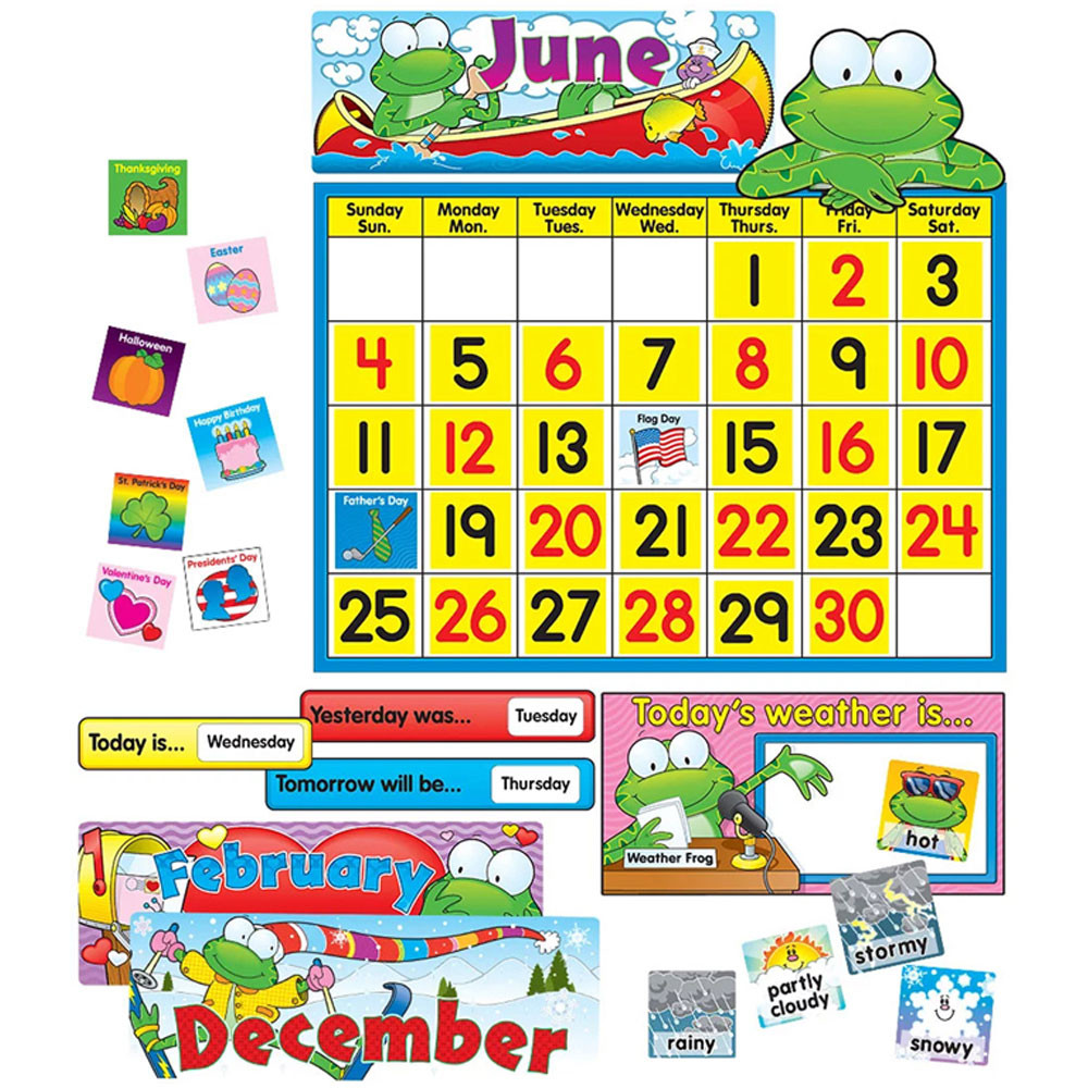 Frog Calendar Set Bulletin Board Set - CD-110076 | Carson Dellosa ...