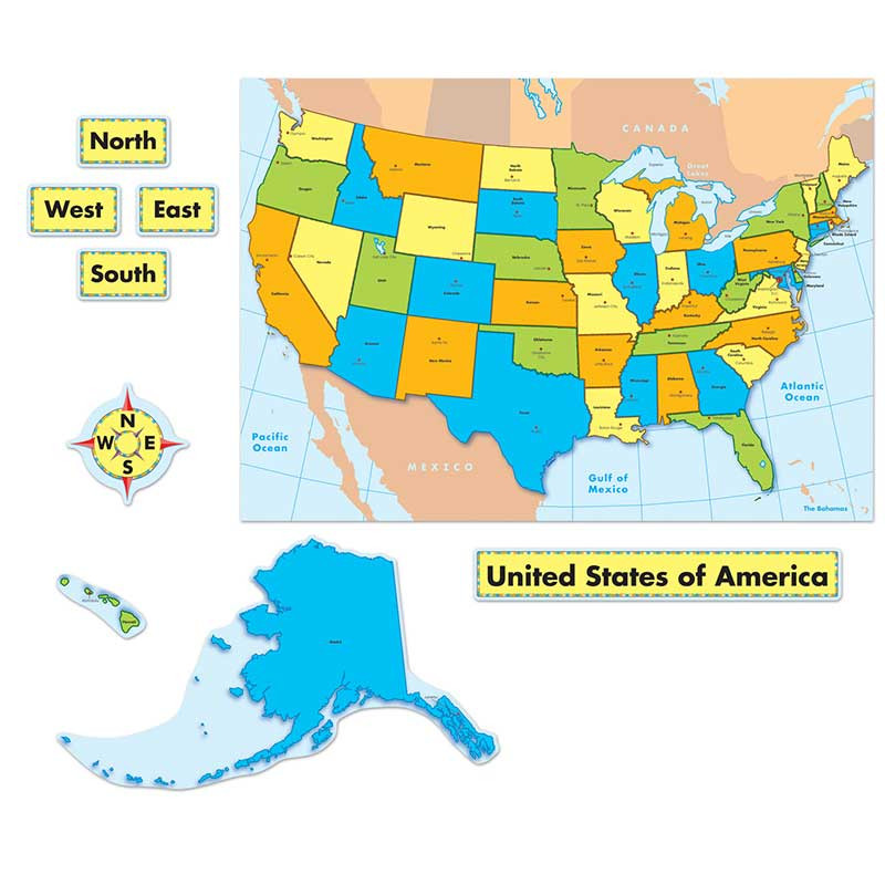 United States Map Quick Stick Bulletin Board Set