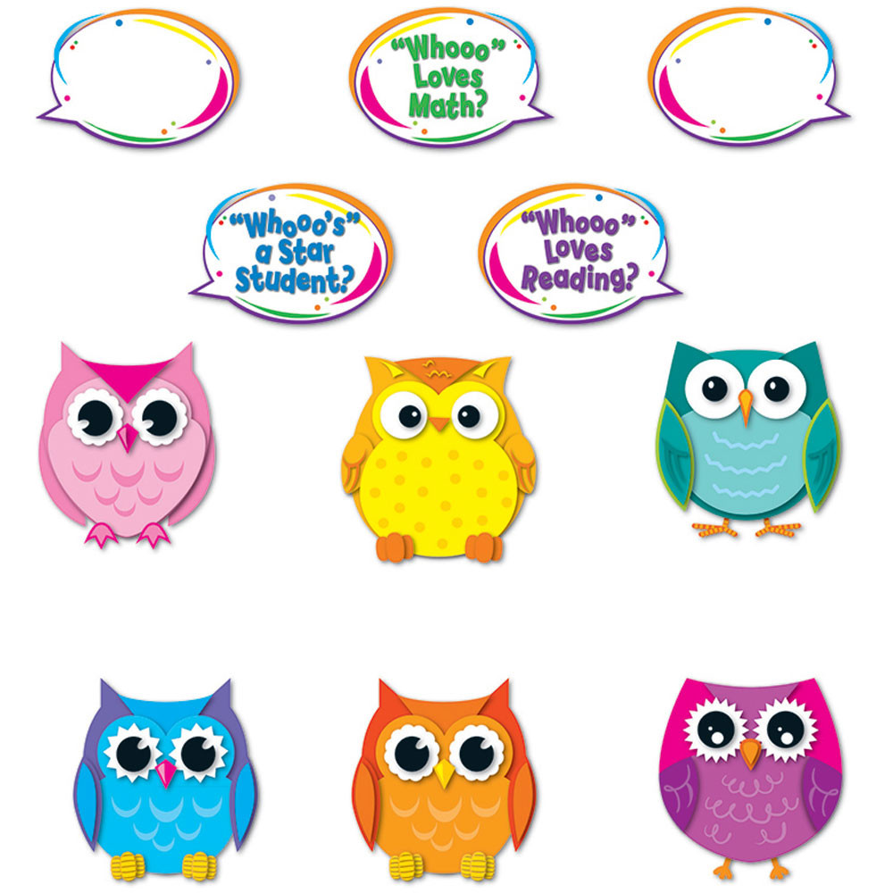 Colorful Owl Classroom Decorations ~ Colorful owl talkers bulletin board set cd