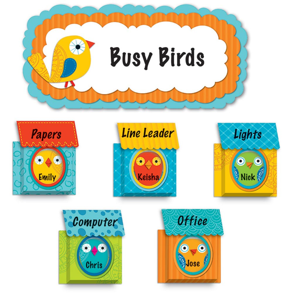 CD-110217 - Boho Birds & Birdhouses Bulletin Board Set in Classroom Theme