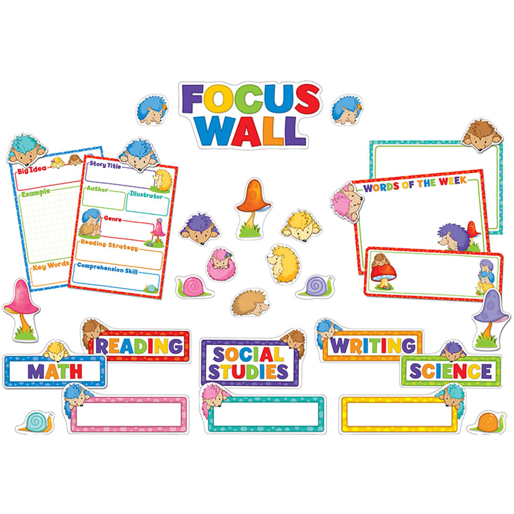 Classroom Wall Decoration Set ~ Happy hedgehogs focus wall bulletin board set cd