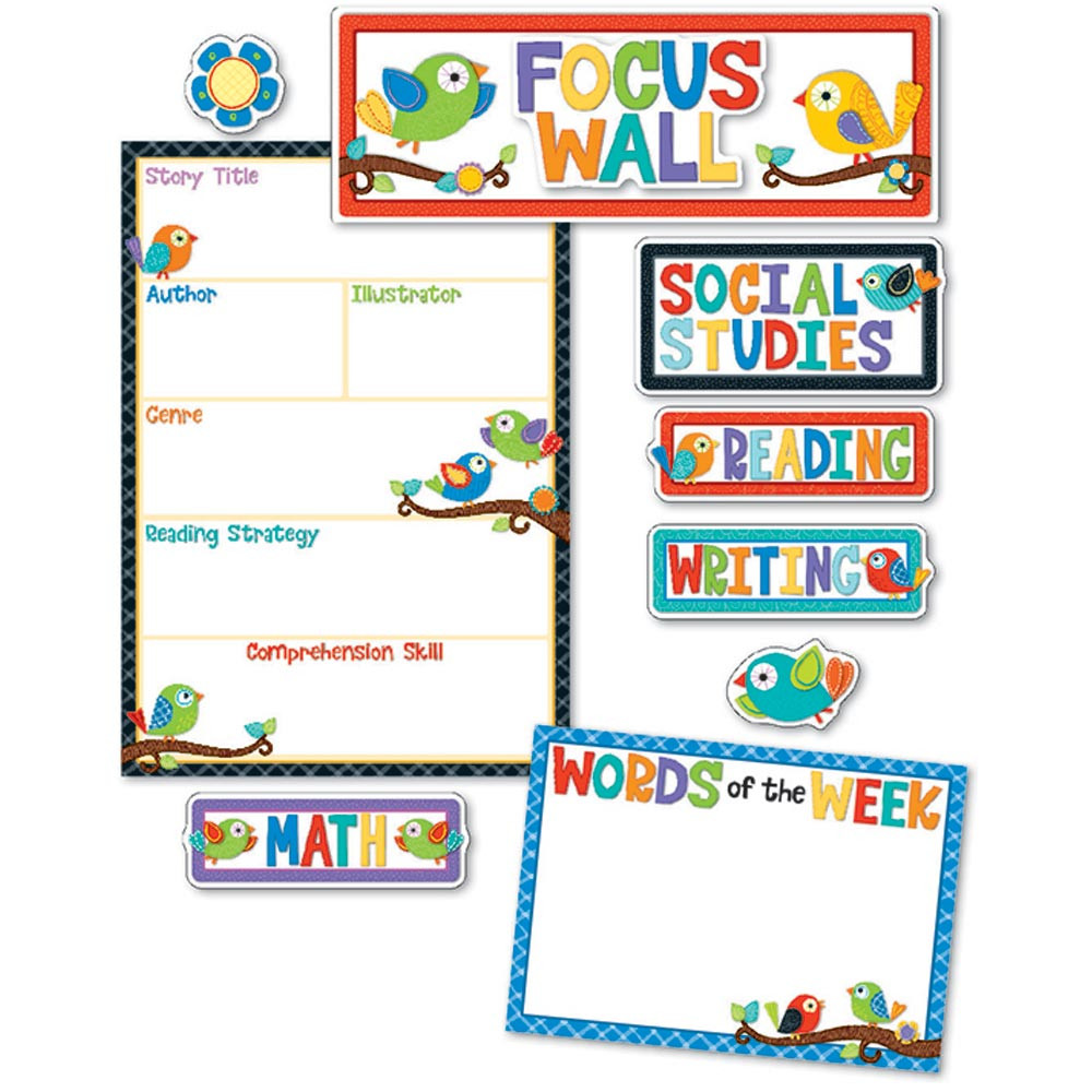 CD-110296 - Boho Birds Focus Wall Bulletin Board Set in Classroom Theme