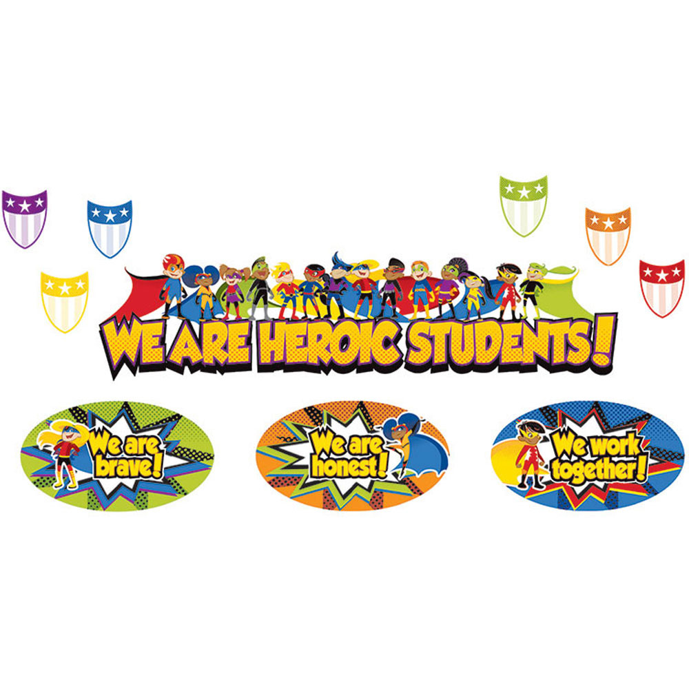 CD-110314 - Super Power Heroic Students Bulletin Board Set in Motivational