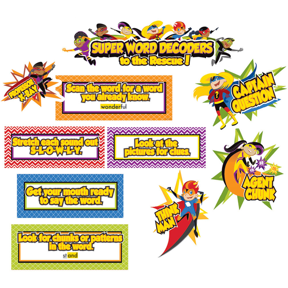 CD-110316 - Super Power Decoding Words Bulletin Board Set in Language Arts
