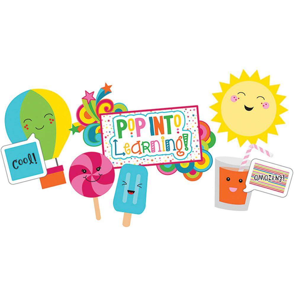 CD-110326 - School Pop Pop Into Learning Bulletin Board Set in Classroom Theme