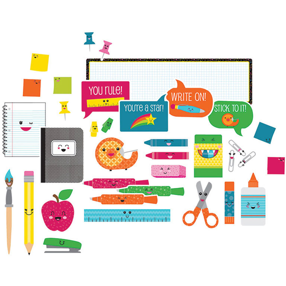 CD-110330 - School Pop School Tools Bulletin Board Set in Classroom Theme