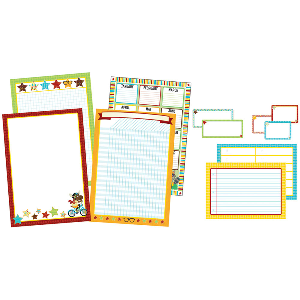 CD-110336 - Hipster Classroom Organizers Bulletin Board Set in Classroom Theme