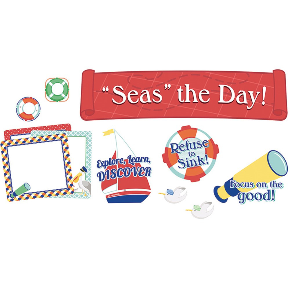 CD-110358 - Seas The Day Mini Bulletin Board Set Grpk-5 in Motivational