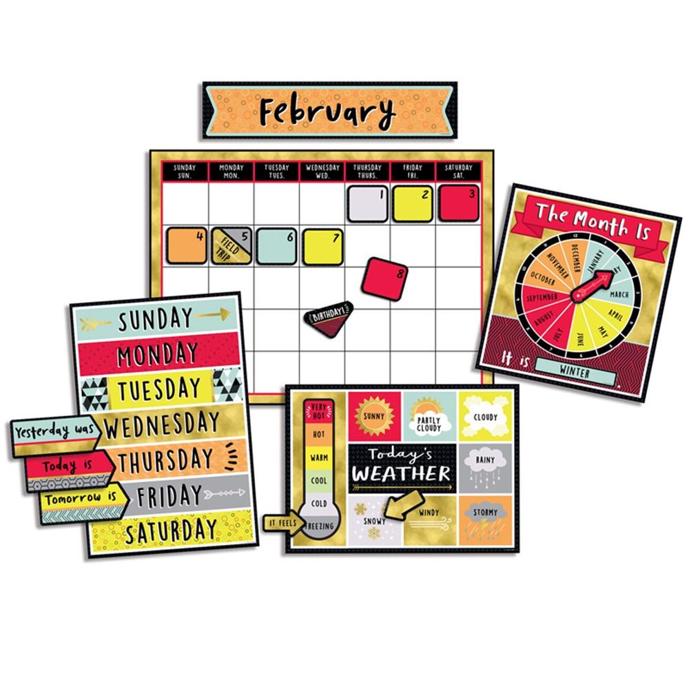 CD-110377 - Aim High Calendar Bulletin Board Set in Classroom Theme