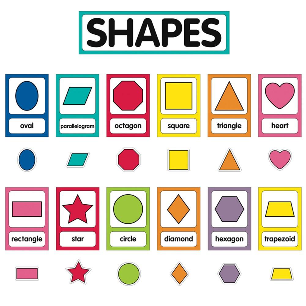 CD-110395 - Just Teach Shape Cards Mini Bulletin Board Set School Girl Style in Classroom Theme