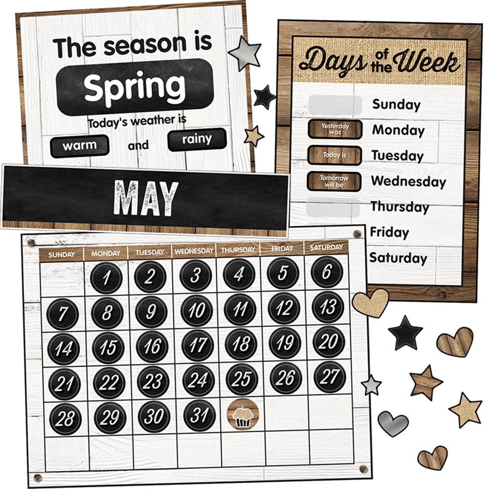 CD-110398 - Industrial Chic Calendar Bulletin Board Set School Girl Style in Miscellaneous