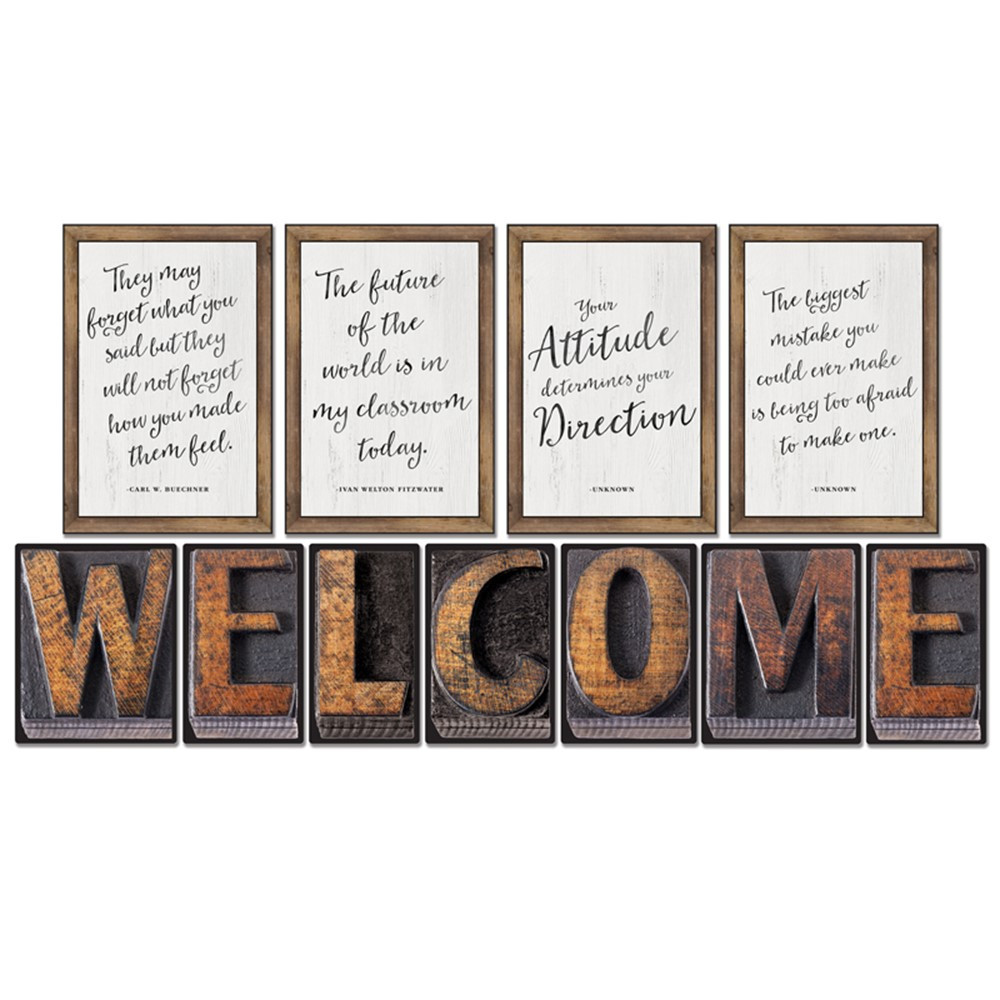 CD-110401 - Industrial Chic Welcome Bulletin Board Set School Girl Style in Miscellaneous