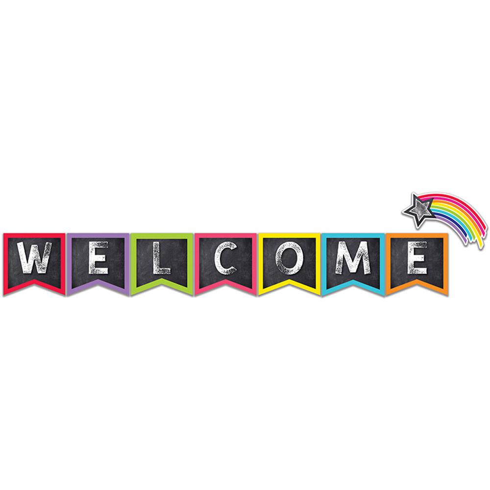 CD-110406 - Stars Welcome Bulletin Board Set School Girl Style in Miscellaneous