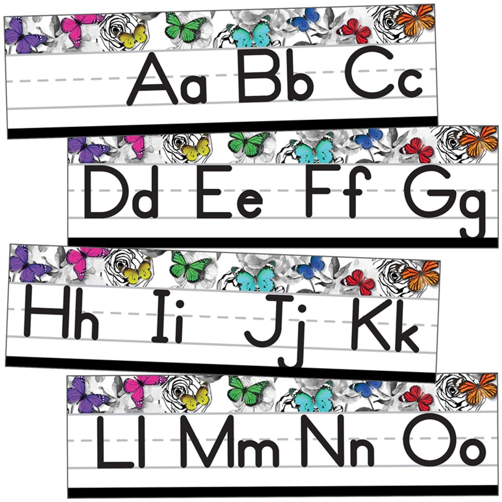 CD-110428 - Alphabet Line Manuscript Mini Bb St Woodland Whimsy in Classroom Theme