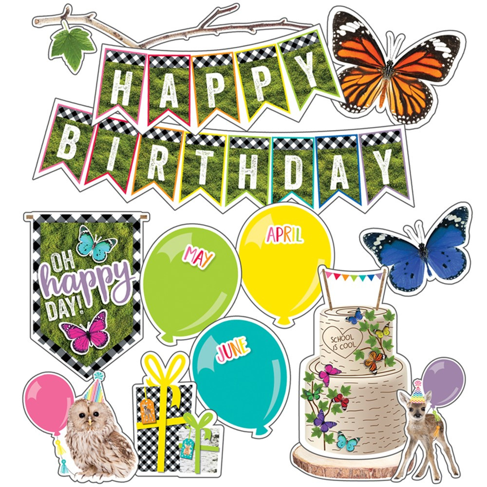 CD-110430 - Birthday Mini Bulletin Board Set Woodland Whimsy in Classroom Theme
