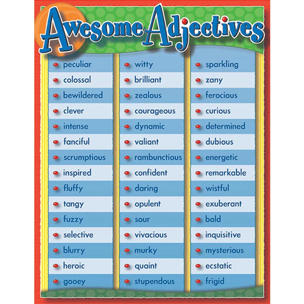 CD-114000 - Awesome Adjectives Chartlet in Language Arts