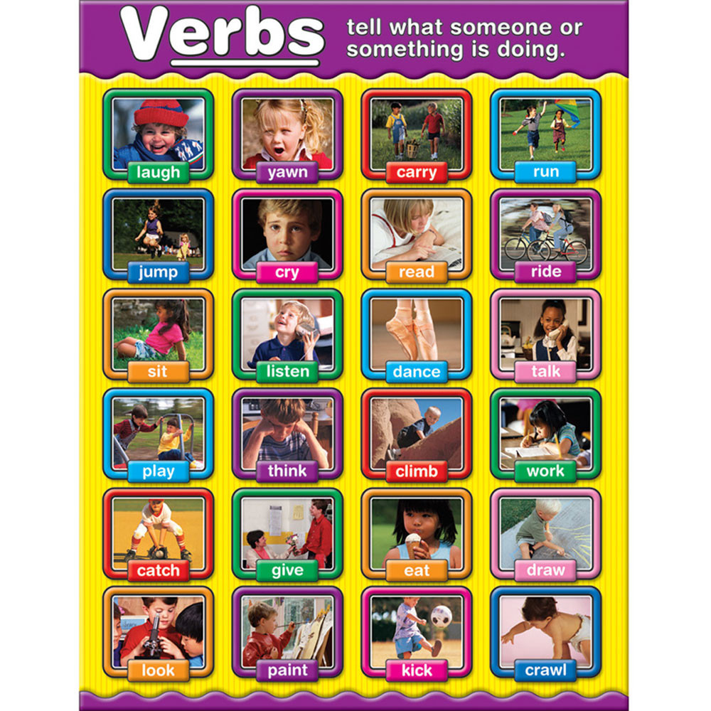 CD-114049 - Verbs Photographic Chartlets Curriculum Gr 1-3 in Language Arts