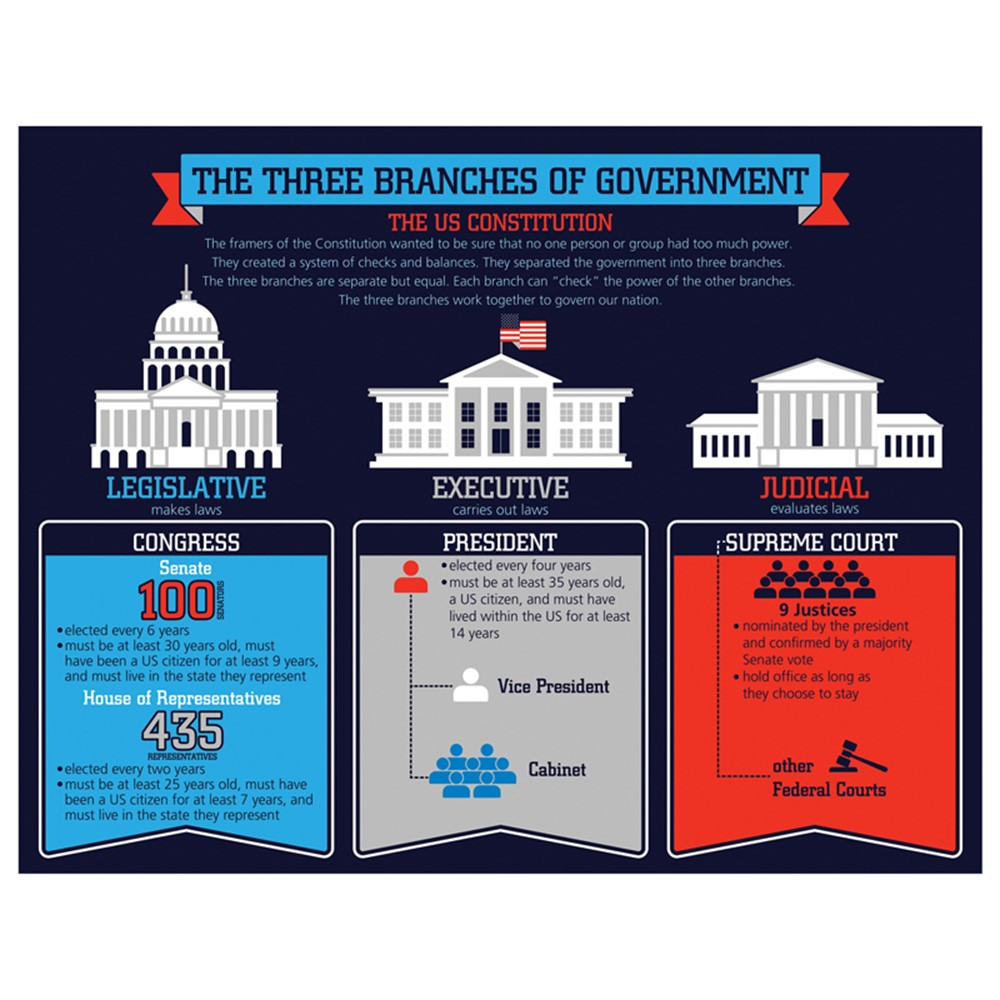 Social Studies Classroom Decorations ~ Three branches of government chart cd carson