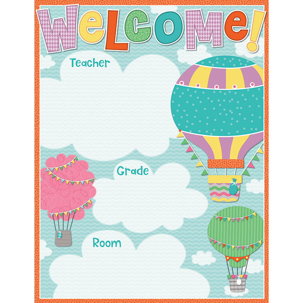Classroom Decoration With Charts ~ Up and away welcome chart cd carson dellosa