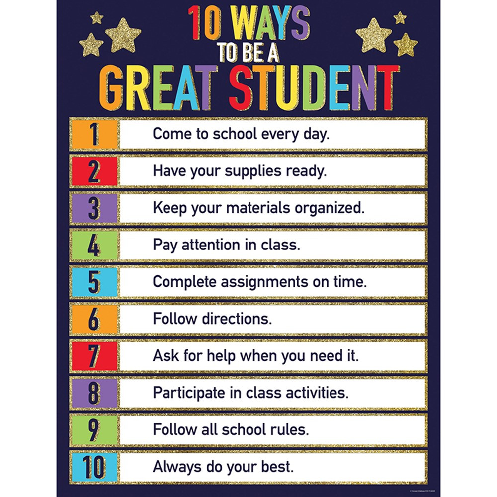 CD-114249 - 10 Ways To Be A Great Student Chart Sparkle And Shine Glitter in Inspirational