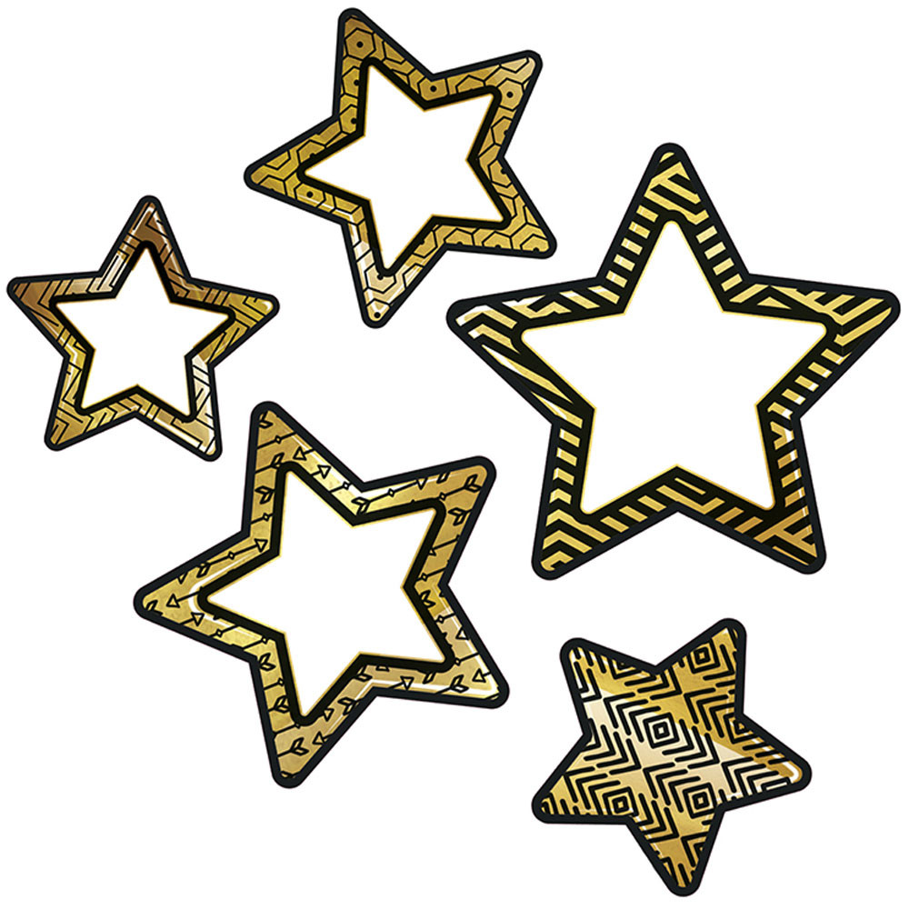 CD-120241 - Colorful Cutout Blk Gld Stars Asst Designs in Accents